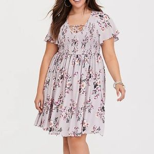 Torrid Grey Floral Smocked Challis Dress